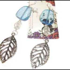 Long blue acrylic and metal leaves earrings